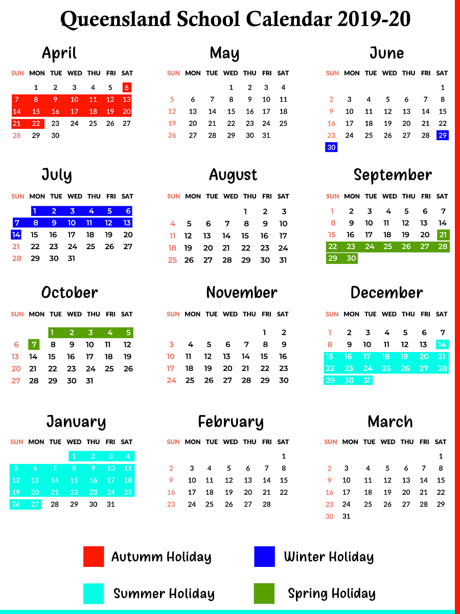 Qld School Holidays Calendar 2019 – 2020 | Qld School Holidays 2019 Calendar Queensland State Schools