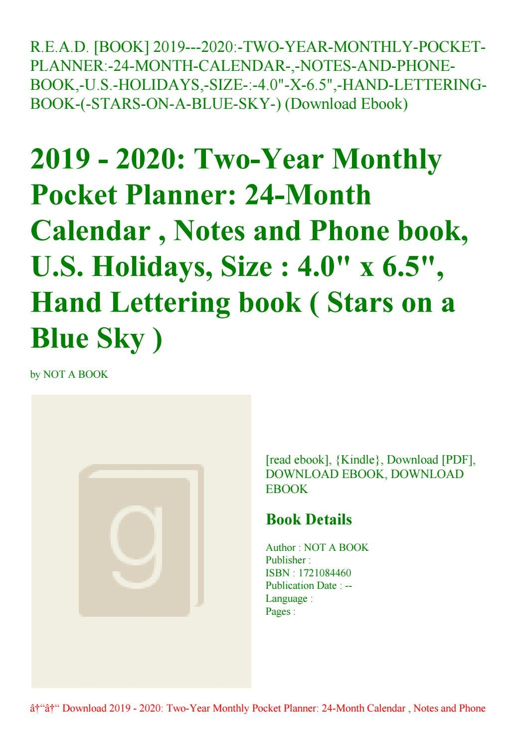 R.e.a.d. [Book] 2019---2020-Two-Year-Monthly-Pocket-Planner-24-Month U Of R Calendar 2019
