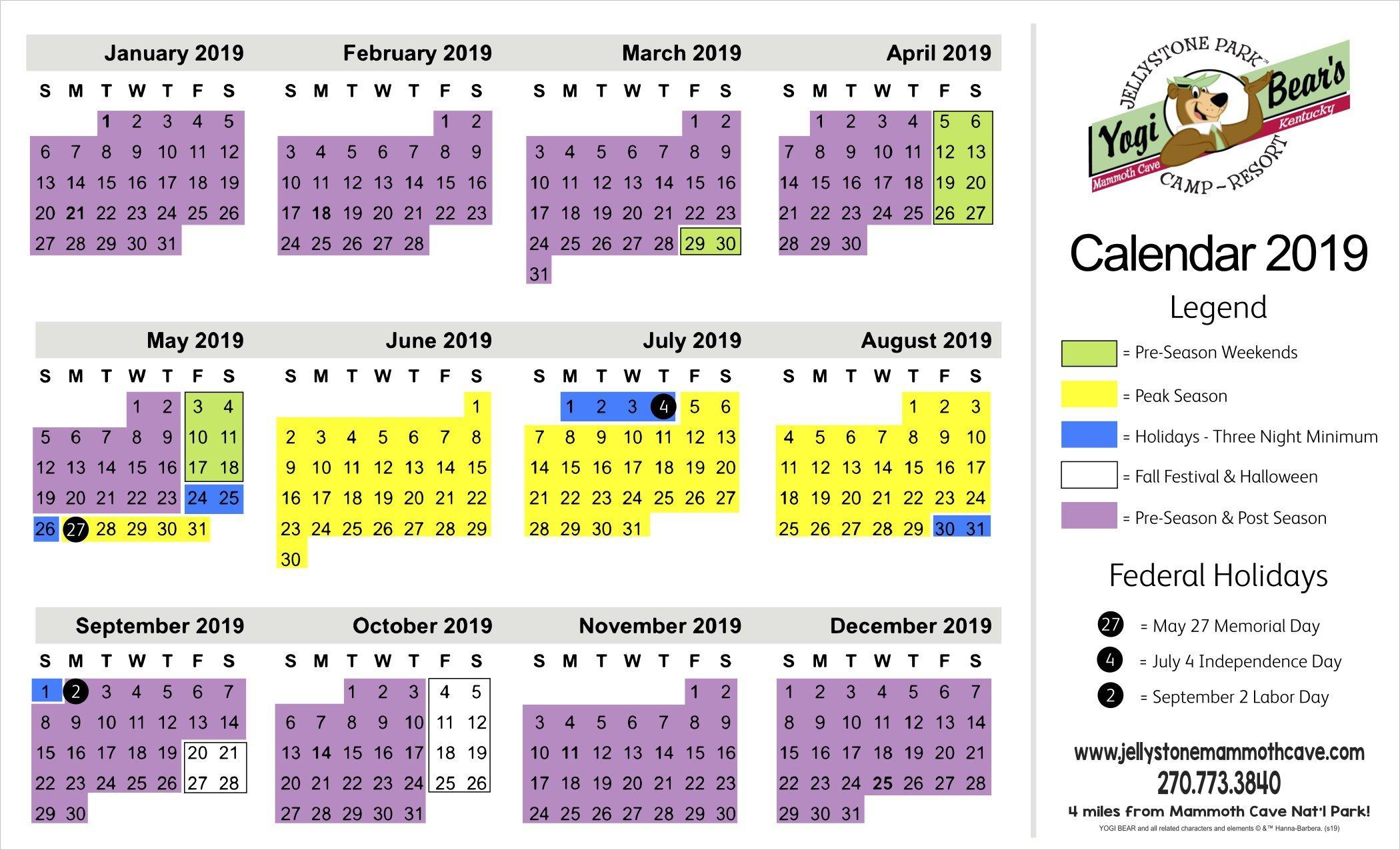 Rates - Jellystone Mammoth Cave Calendar 2019 Rates