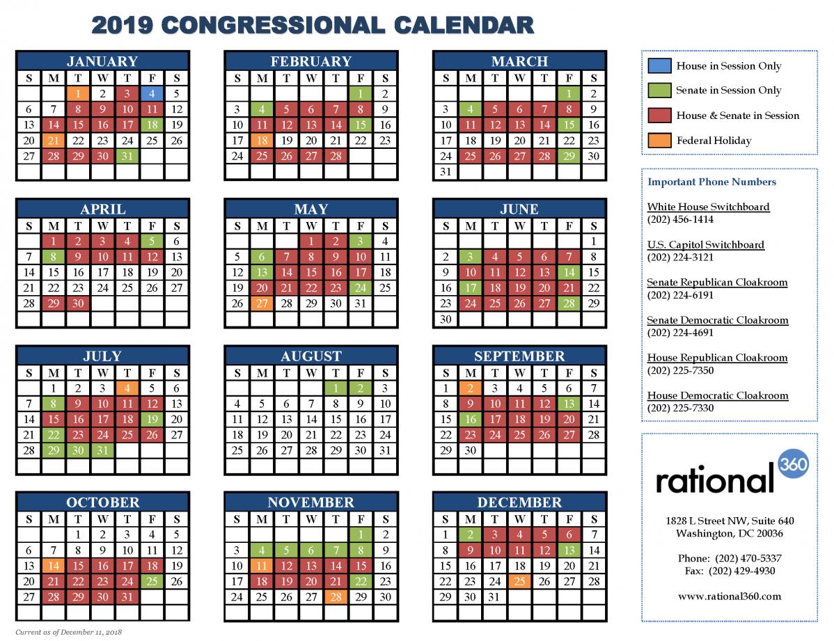 Rational 360 - A Smarter Approach To Washington & Corporate Strategy Calendar 2019 House