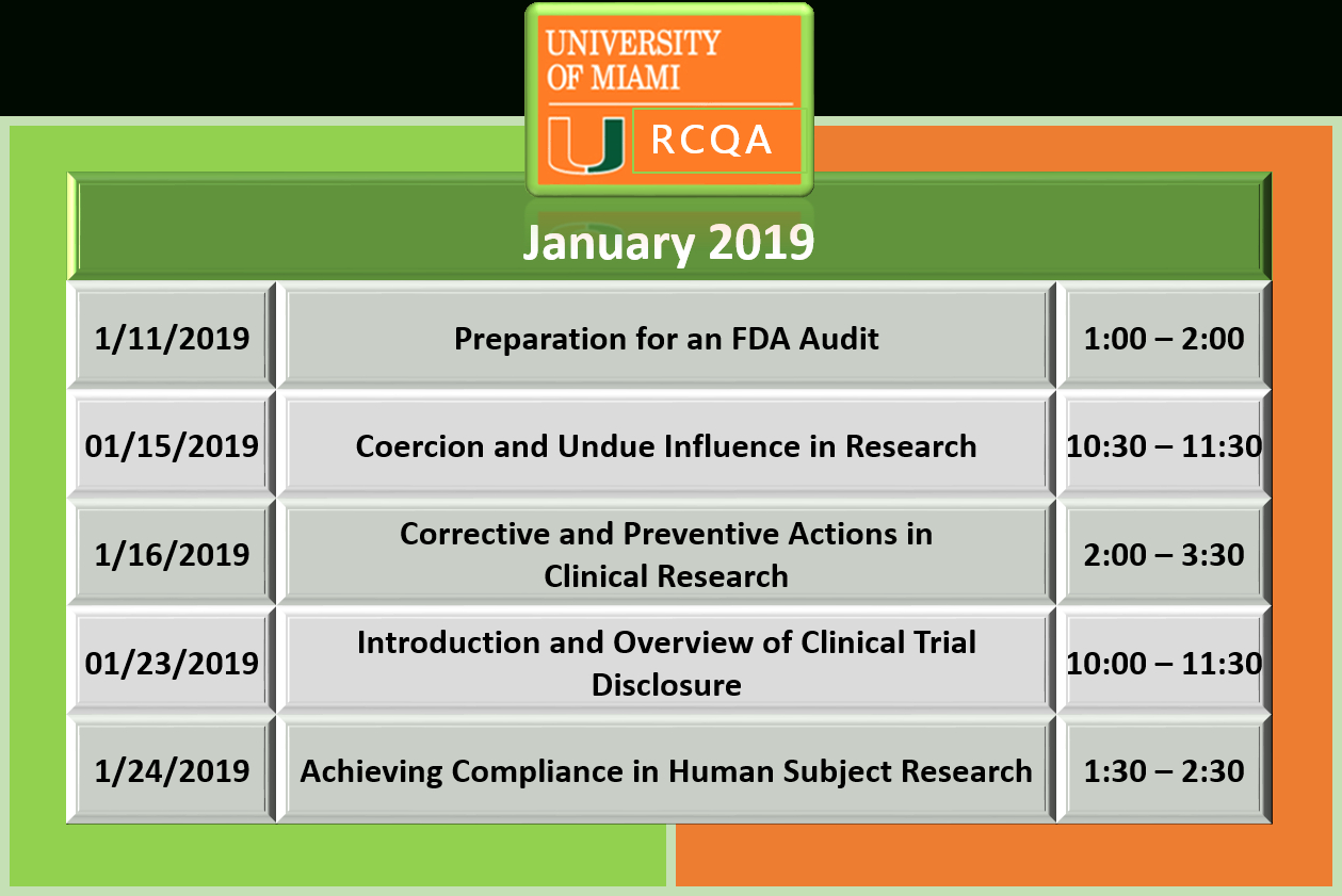 Rcqa's Educational Classes | Research Compliance & Quality Assurance U Miami Calendar 2019