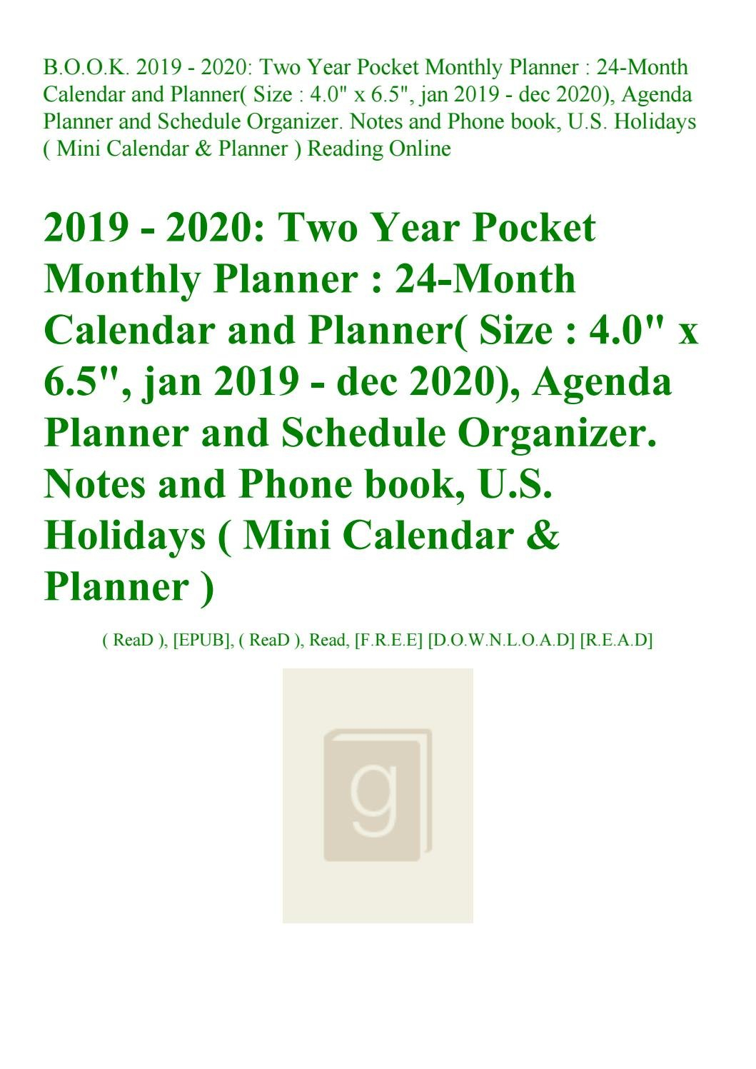 Read B.o.o.k. 2019 - 2020 Two Year Pocket Monthly Planner 24-Month U Of R Calendar 2019