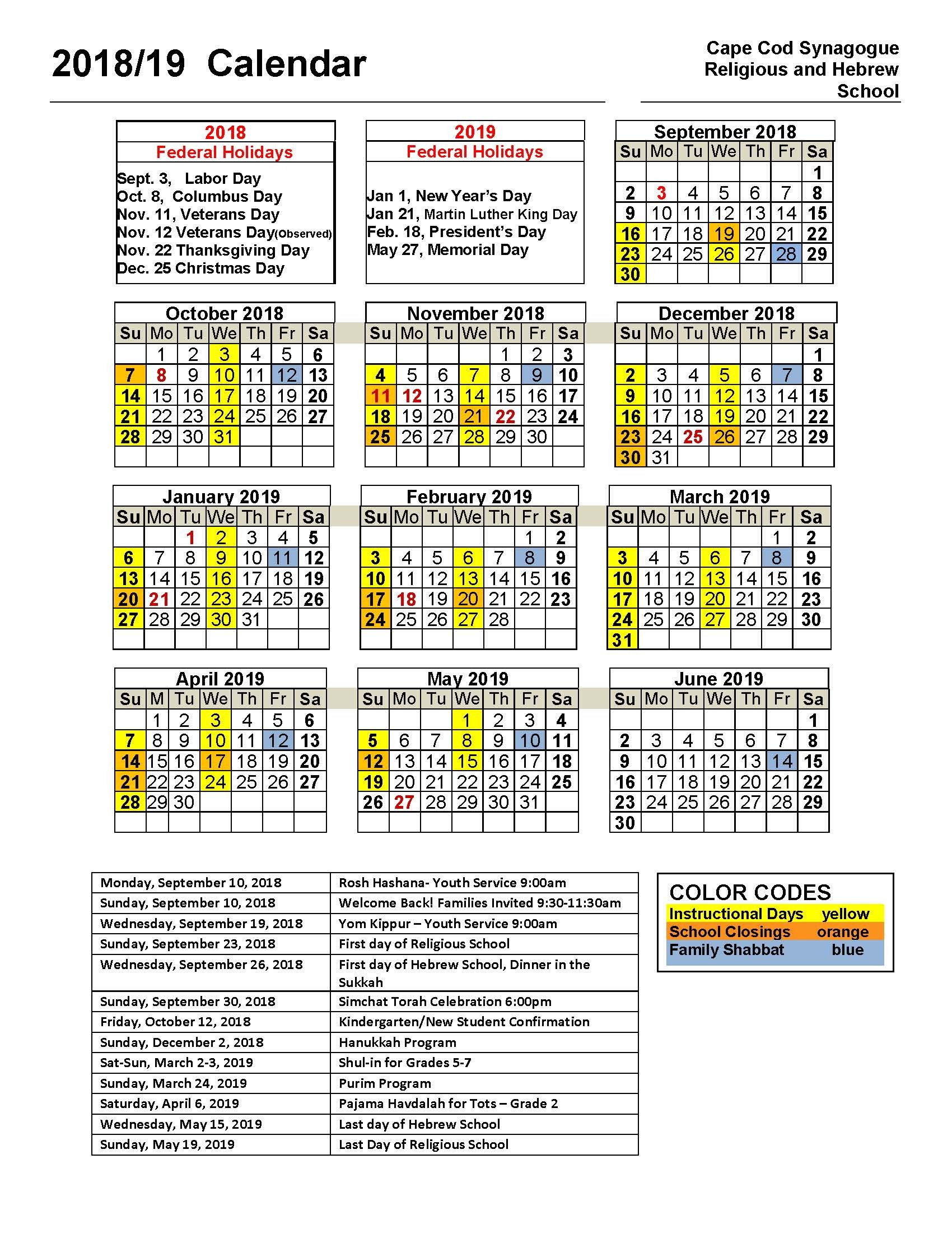 Religious And Hebrew School Calendar – Cape Cod Synagogue Calendar 2019 Martin Luther King