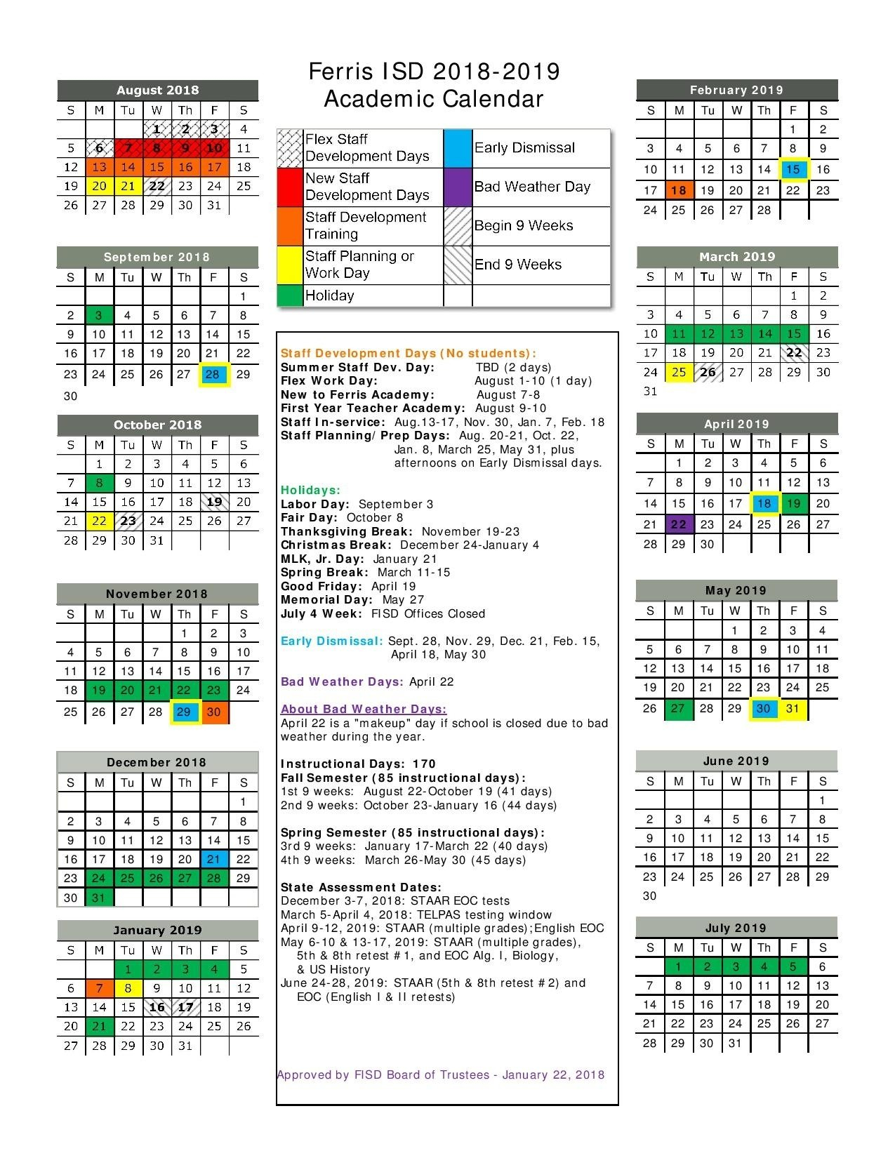 Remarkable District 6 School Calendar 2019 • Printable Blank District 6 Calendar 2019
