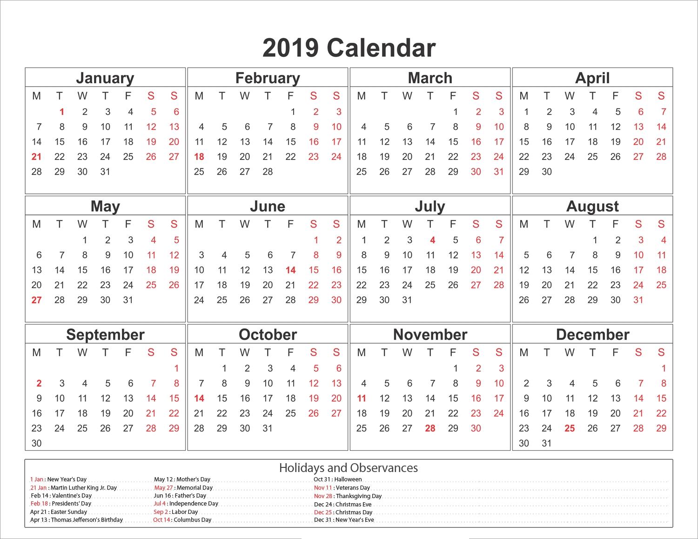 Remarkable Print A Blank Calendar 2019 • Printable Blank Calendar Print-A-Calendar 2019