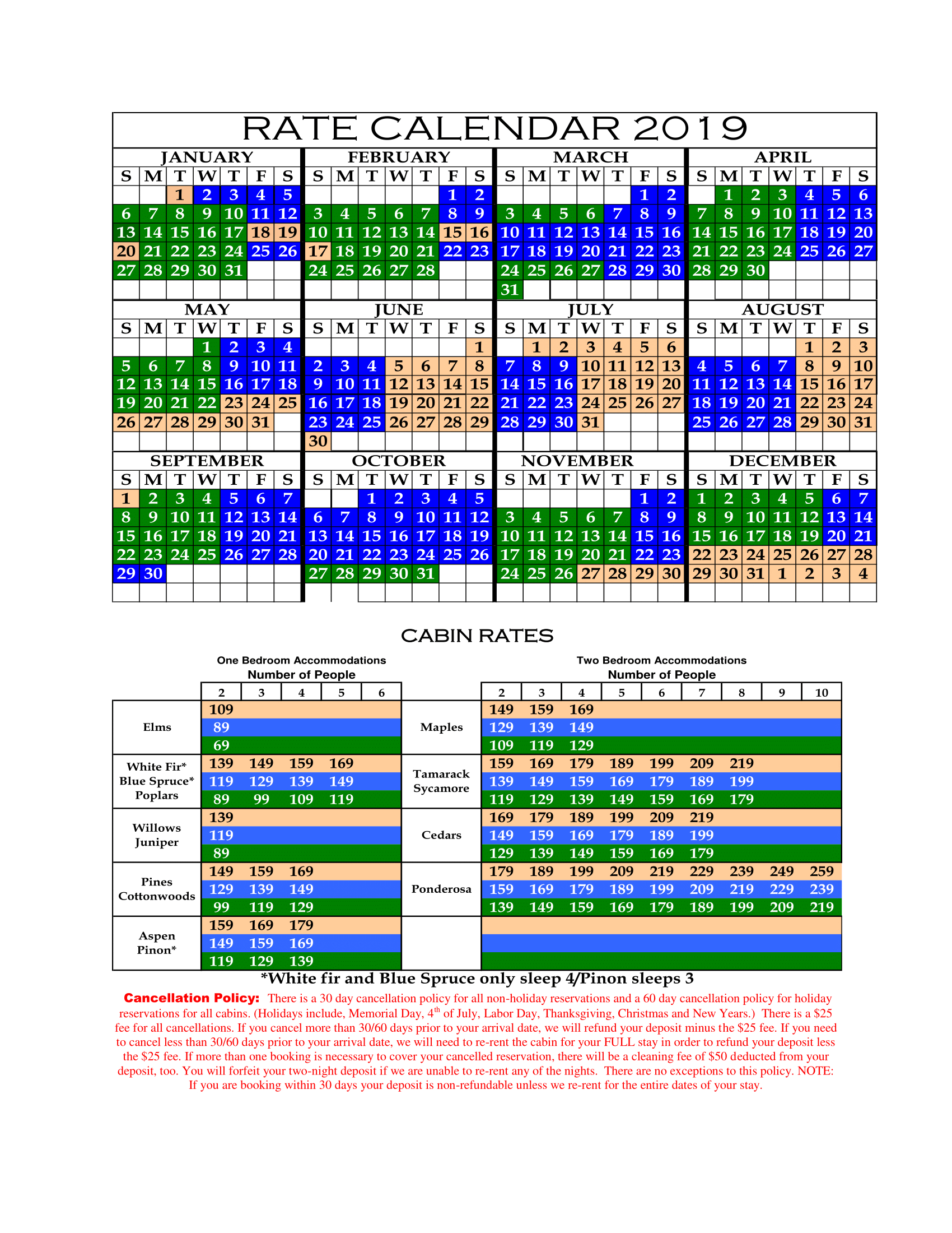 Reserve/rates/policies | Lazy Oaks | Page 4573582321 Calendar 2019 Rates