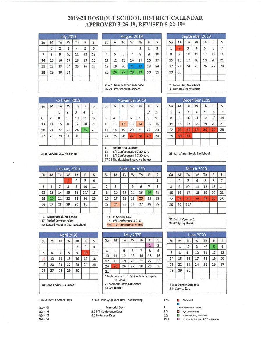 Rosholt School District - District Calendar M State Calendar 2019