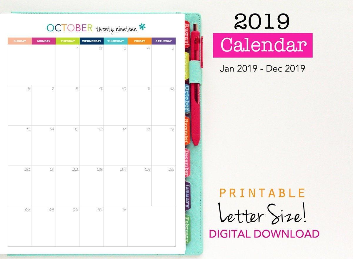 Sale 2019 Calendar Printable Planner Single Page Vertical | Etsy Calendar 2019 Sale