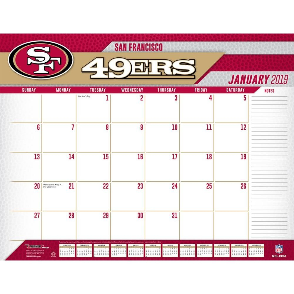 San Francisco 49Ers 2019 Desk Pad-Calendars-Books & Gifts 49Ers Calendar 2019
