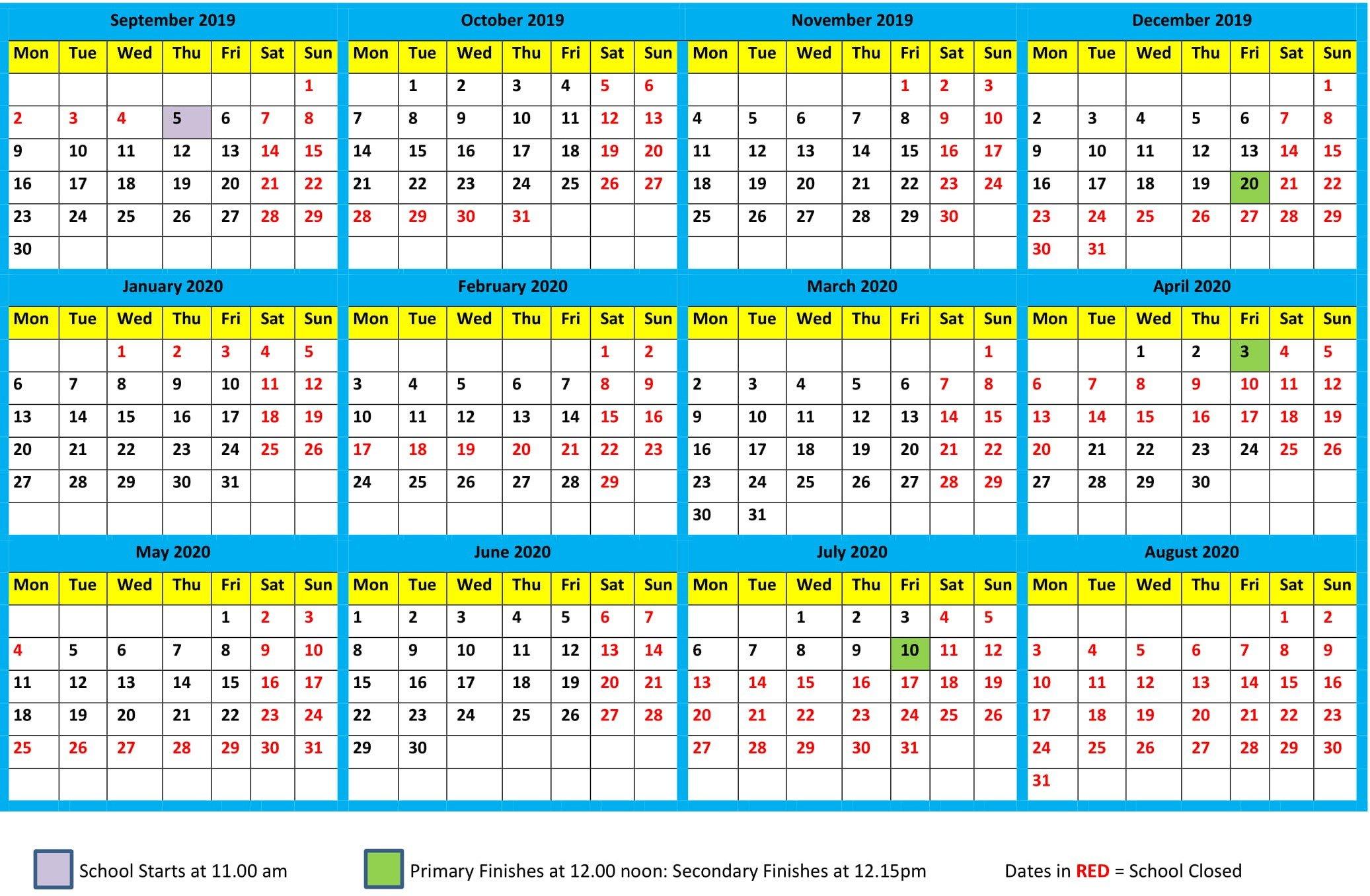 School Calendar 2019-2020 - Maharishi School Term 1 Calendar 2019