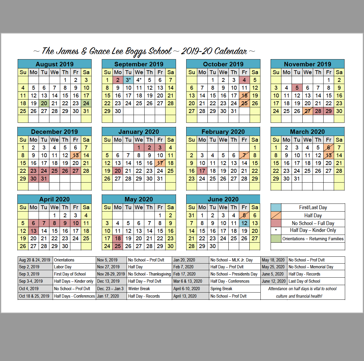 School Calendar | Boggs Educational Center U Michigan Calendar 2019