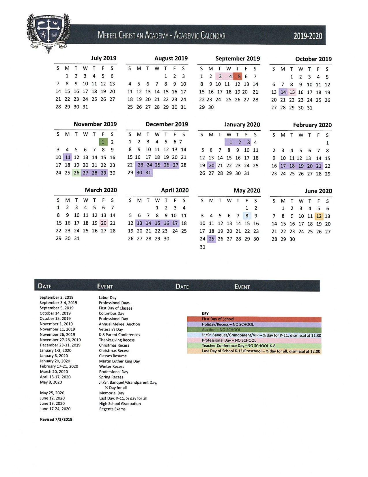 School Calendar York U Calendar 2019