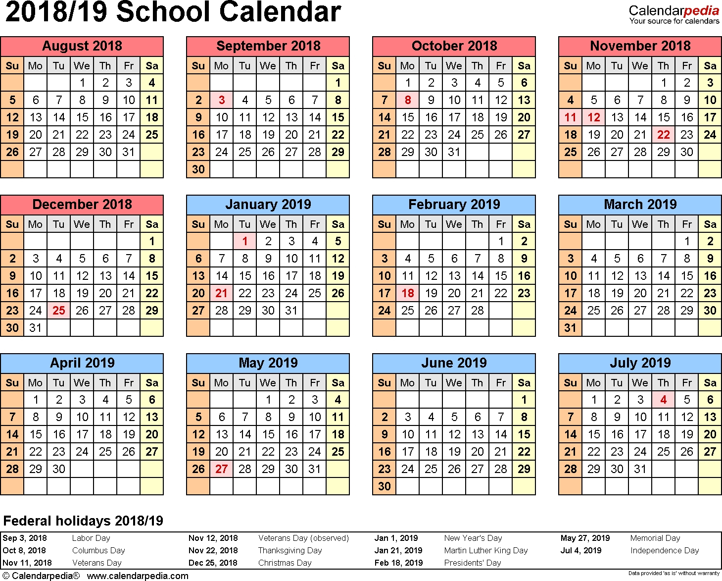 School Calendars 2018/2019 As Free Printable Word Templates-Unit 4 Unit 4 Calendar 2019