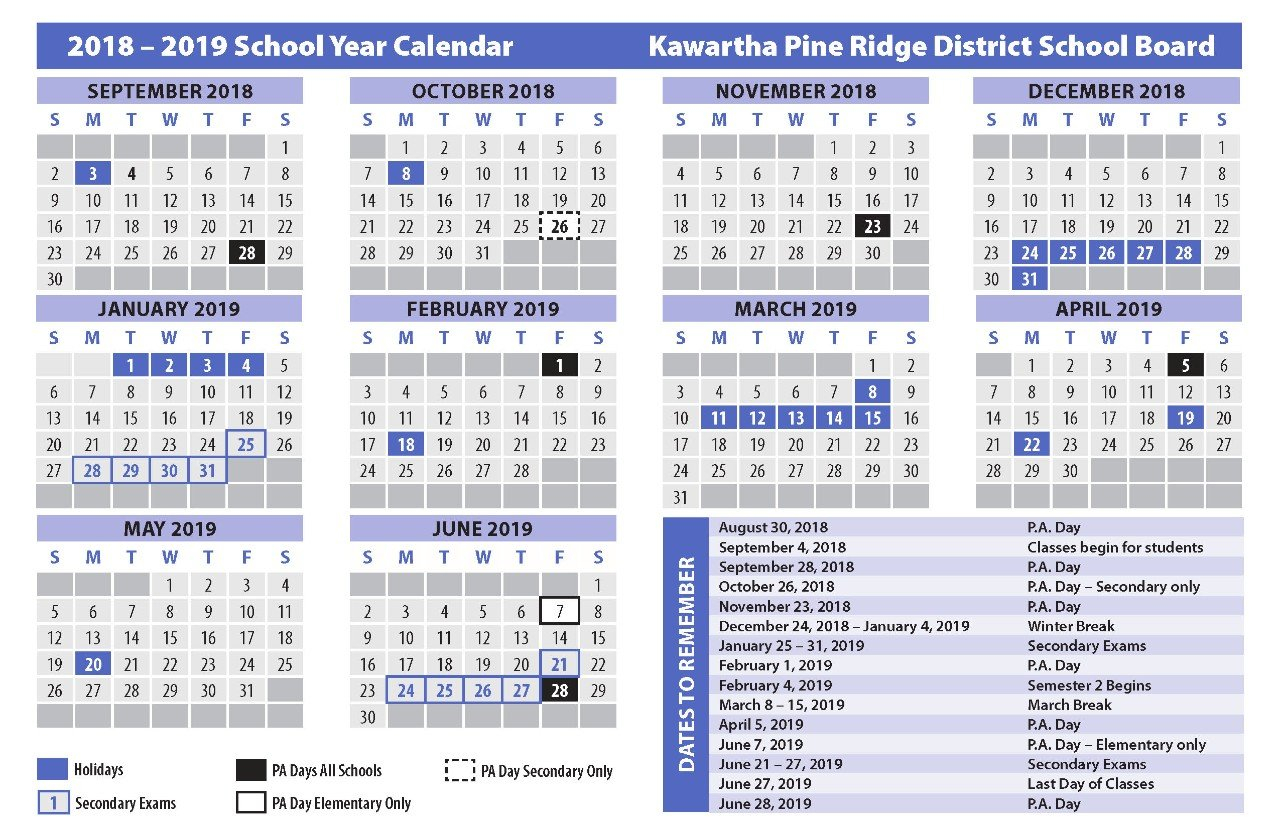 School Calendars Calendar 2019 Ontario