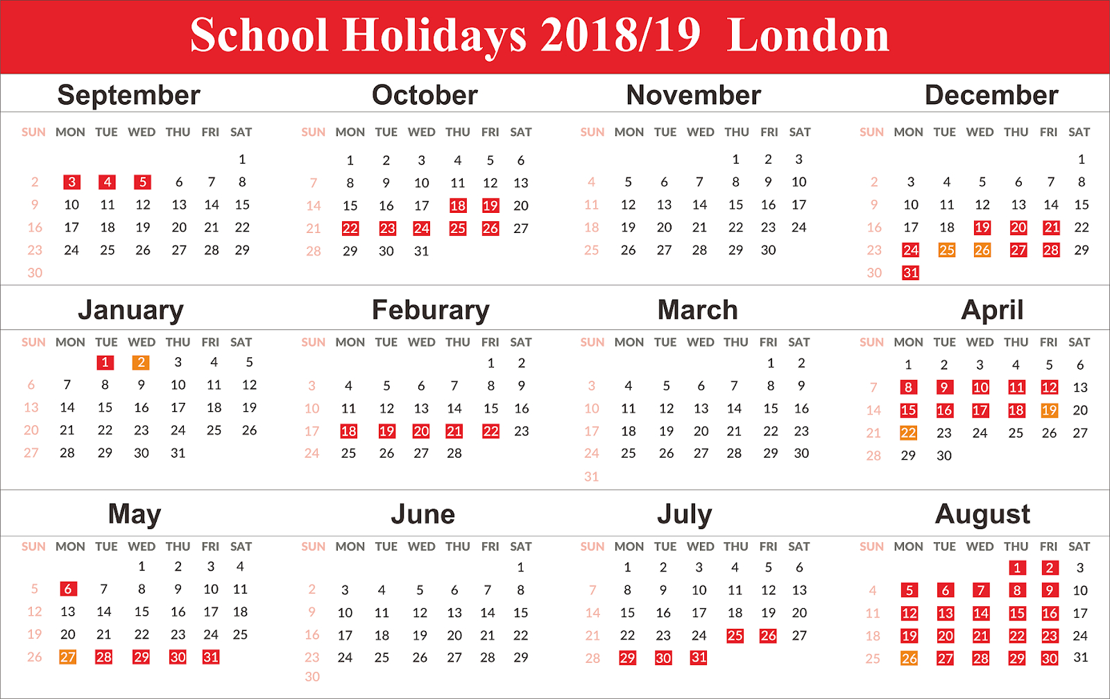 School Holidays 2019 London Calendar {Template} Calendar 2019 London