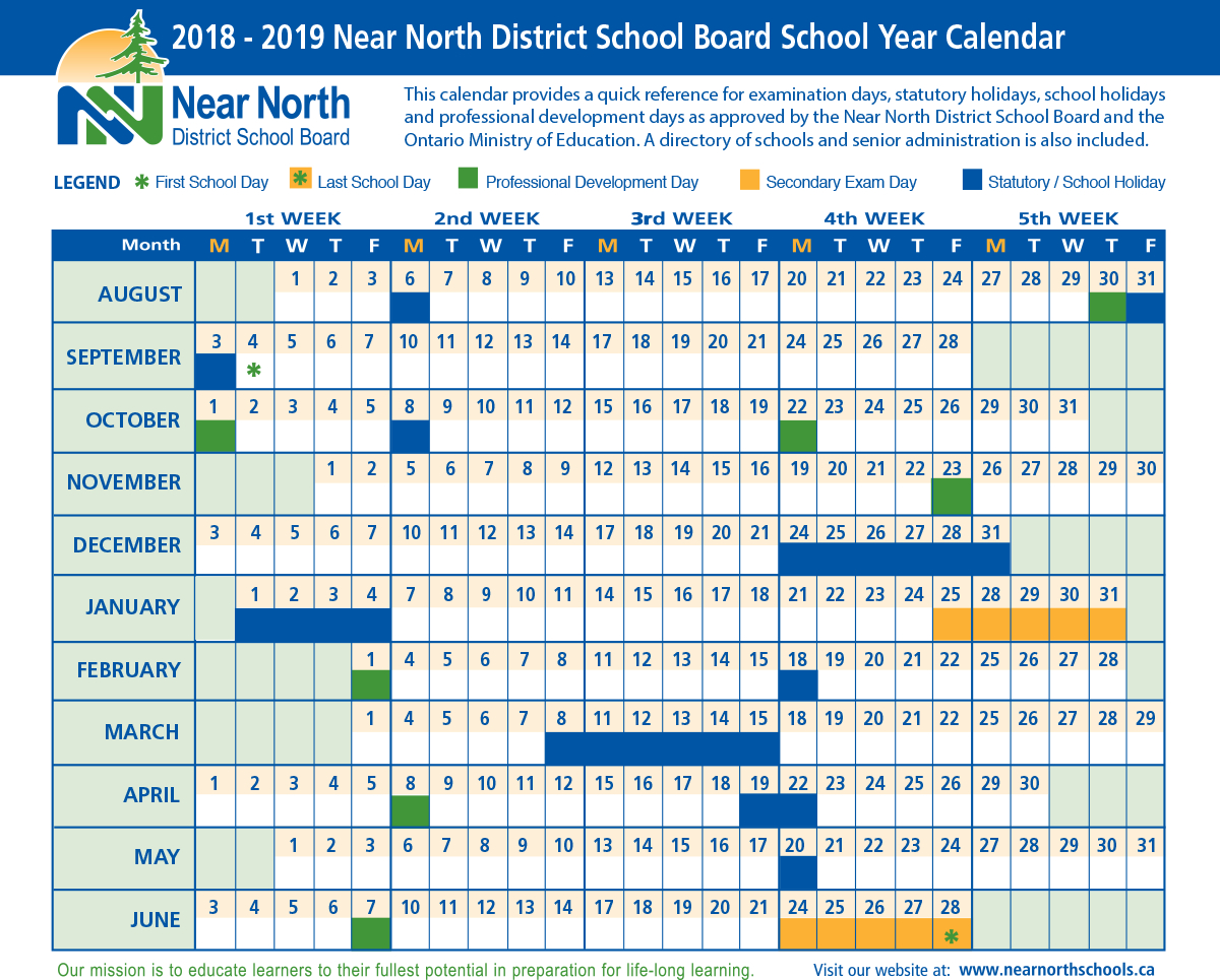 School Year Calendar 2018-2019 – Near North District School Board Calendar 2019 Ontario