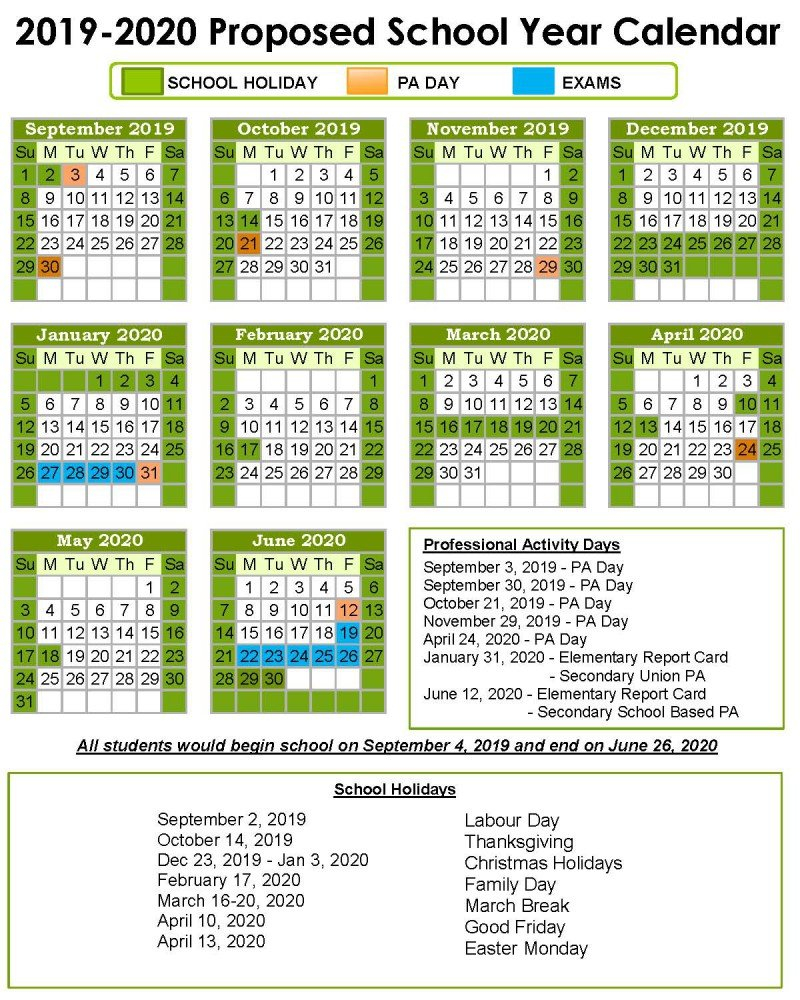 School Year Calendar - Keewatin Patricia District School Board Calendar 2019 Ontario