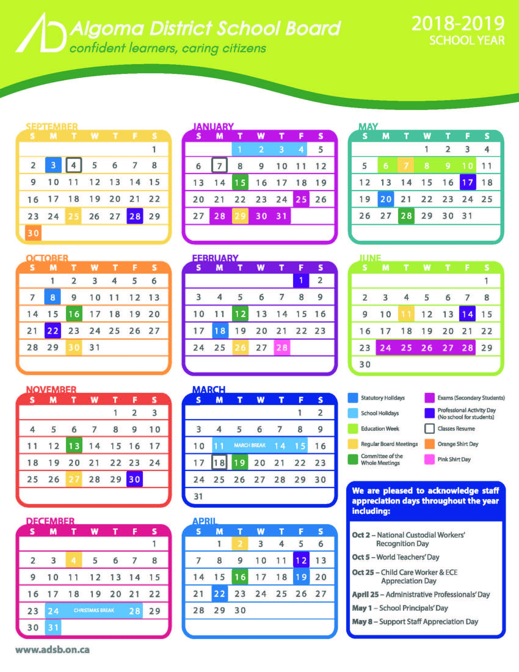 Schoolcalendar - All Documents District 6 Calendar 2019