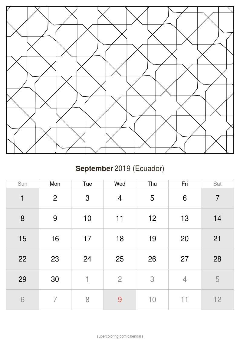 September 2019 Calendar - Ecuador Calendar 2019 Ecuador