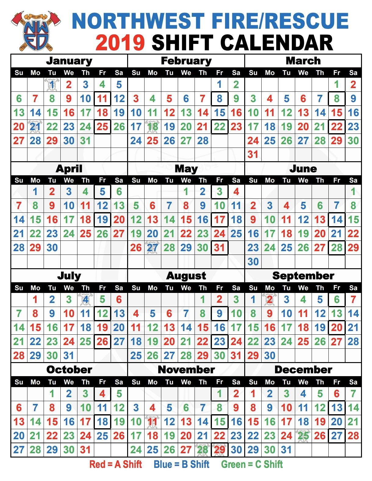 Shift Schedules   Northwest Fire District B Shift Calendar 2019