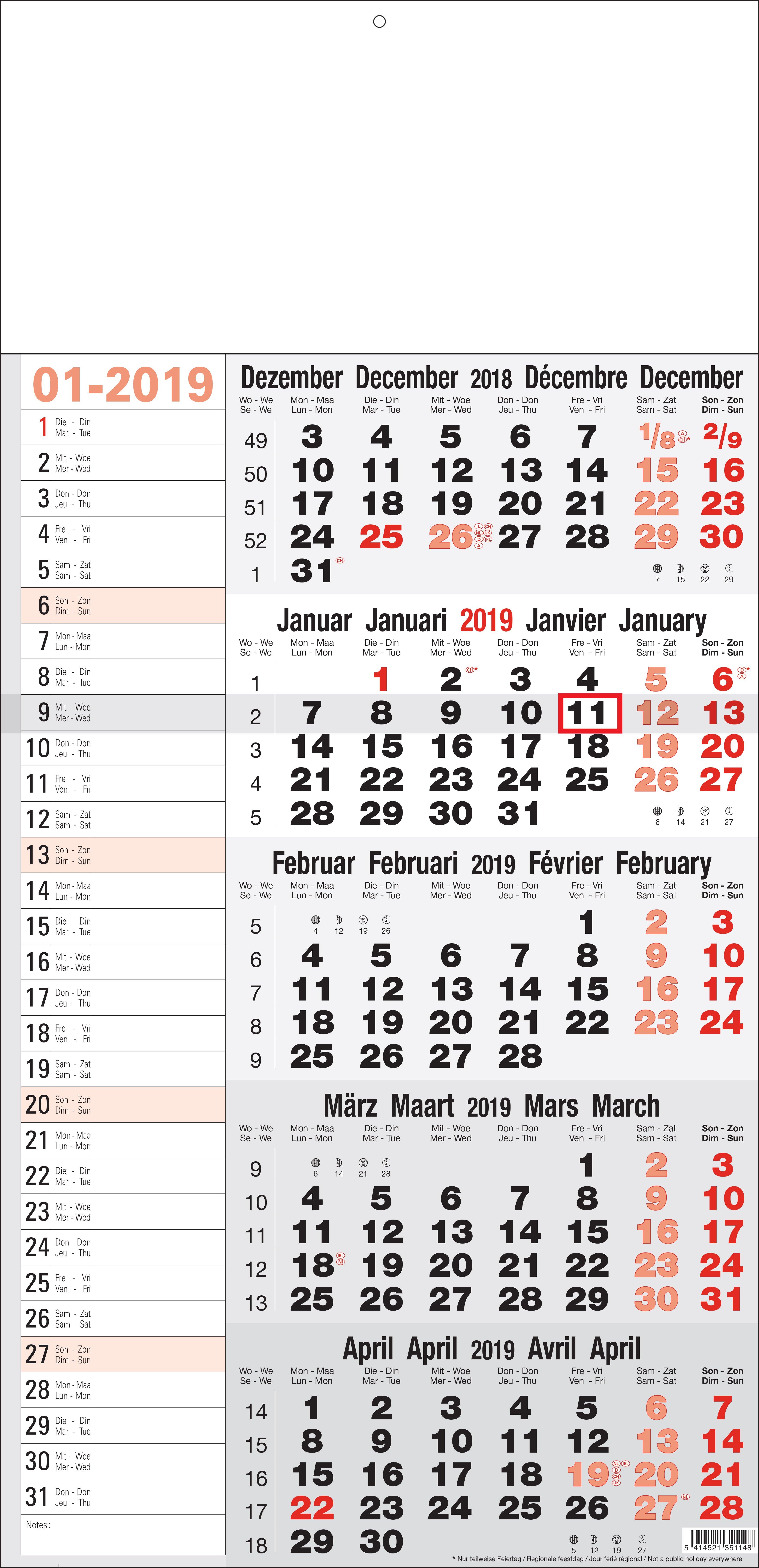 Shipping Calendar 5 Months Memo 2019 5 Column Calendar 2019
