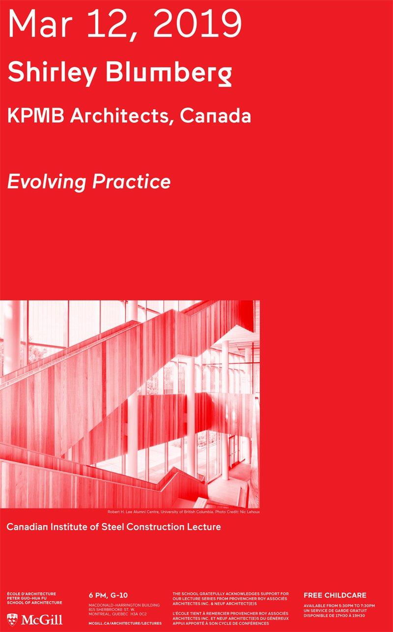 Shirley Blumberg: Lecture | Peter Guo-Hua Fu School Of Architecture Mcgill E Calendar 2019