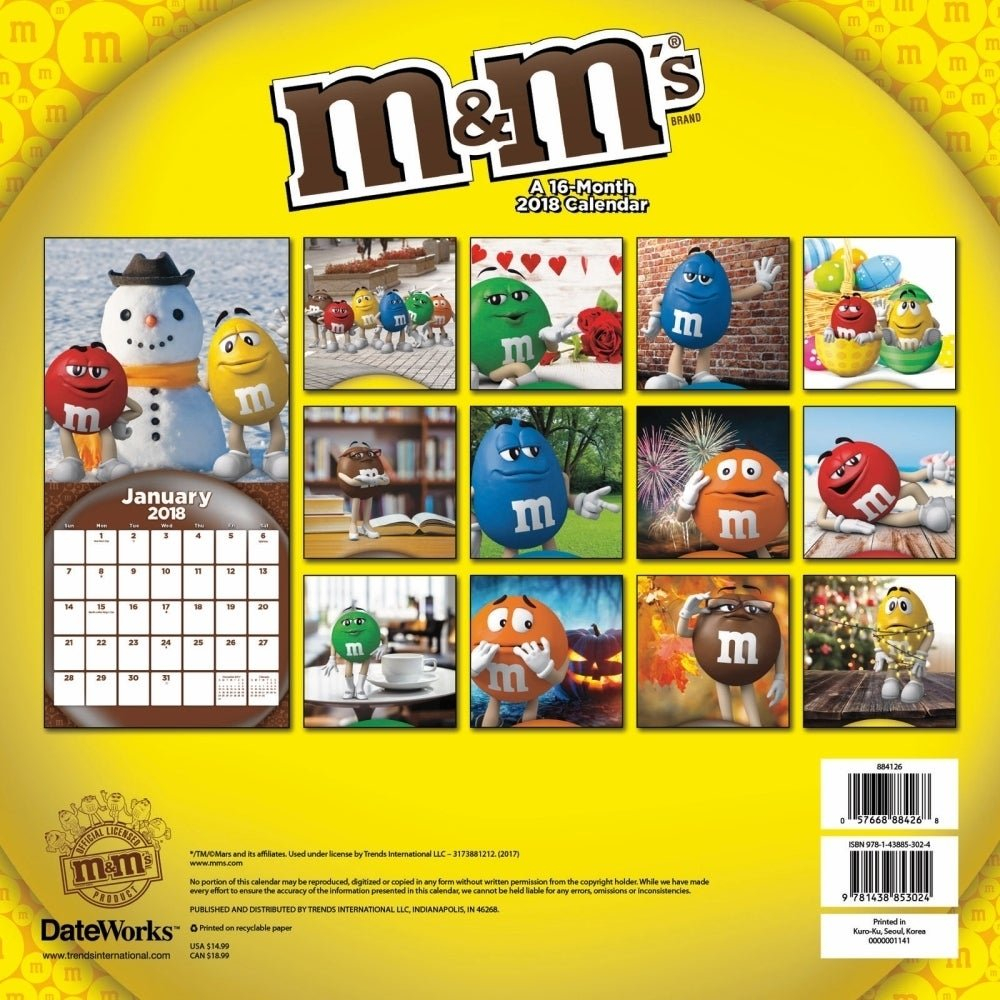 Shop M&m's Wall Calendar, More Food | Drinktrends International M&m Calendar 2019