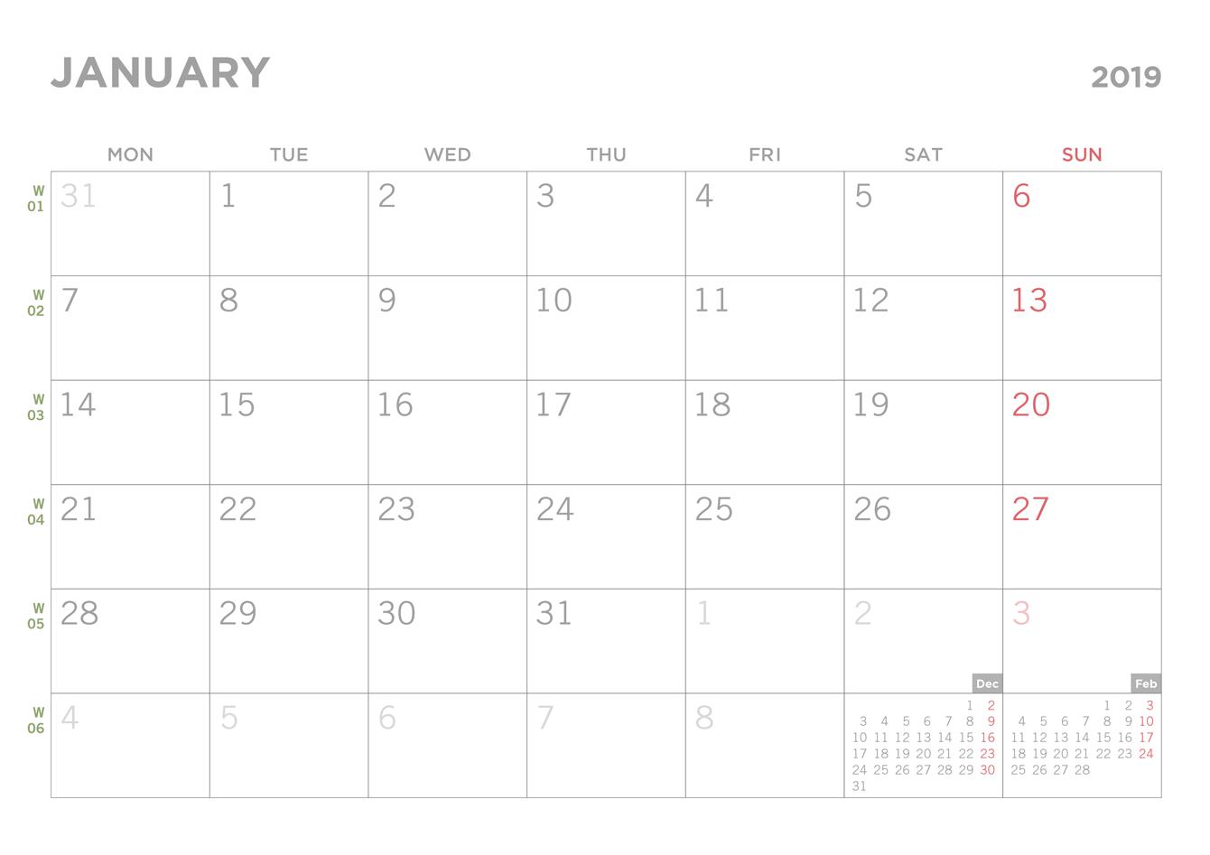Simple 2019 Printable Pdf Calendar Calendar 2019 Pdf Free Download