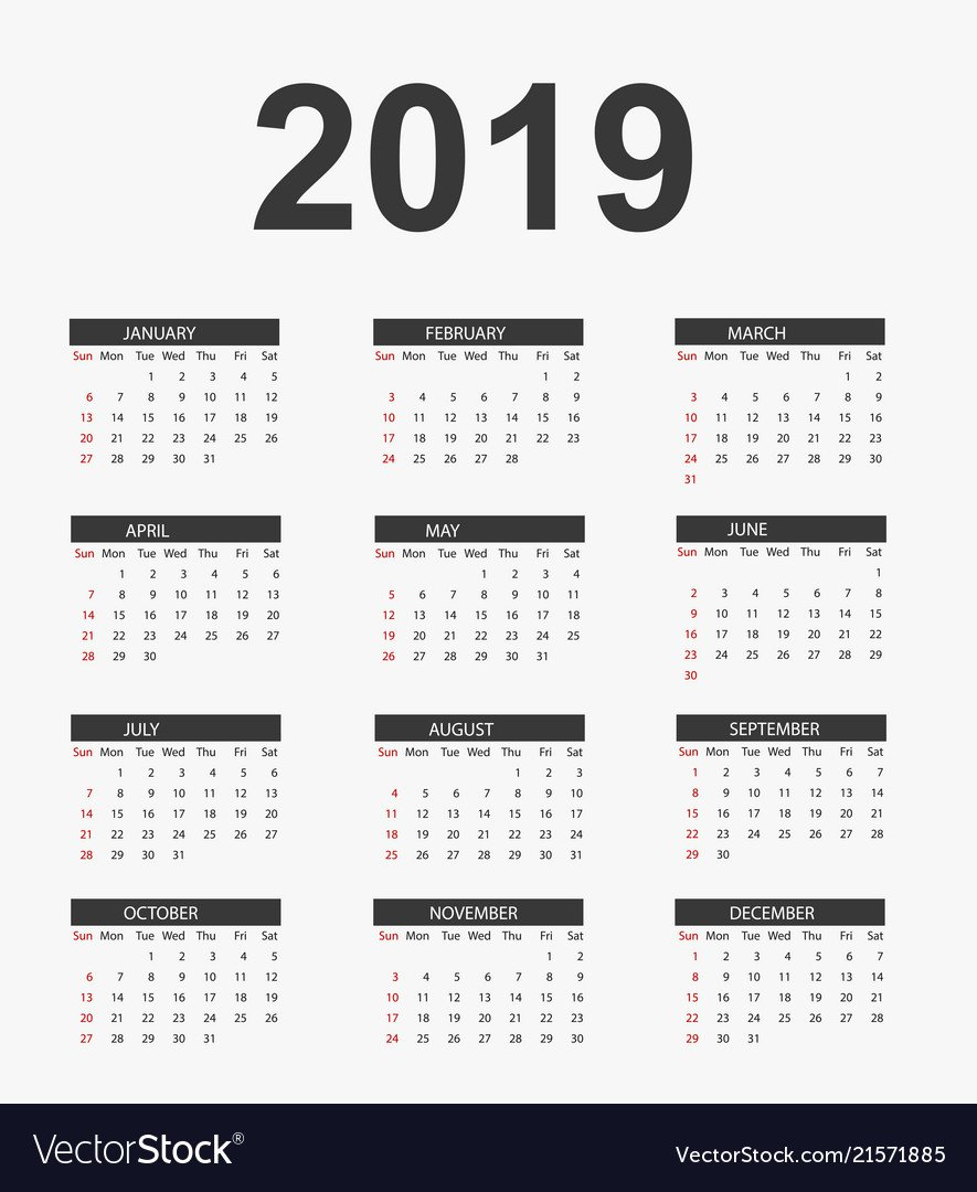 Simple Calendar 2019 Calendar 2019 Vector Image