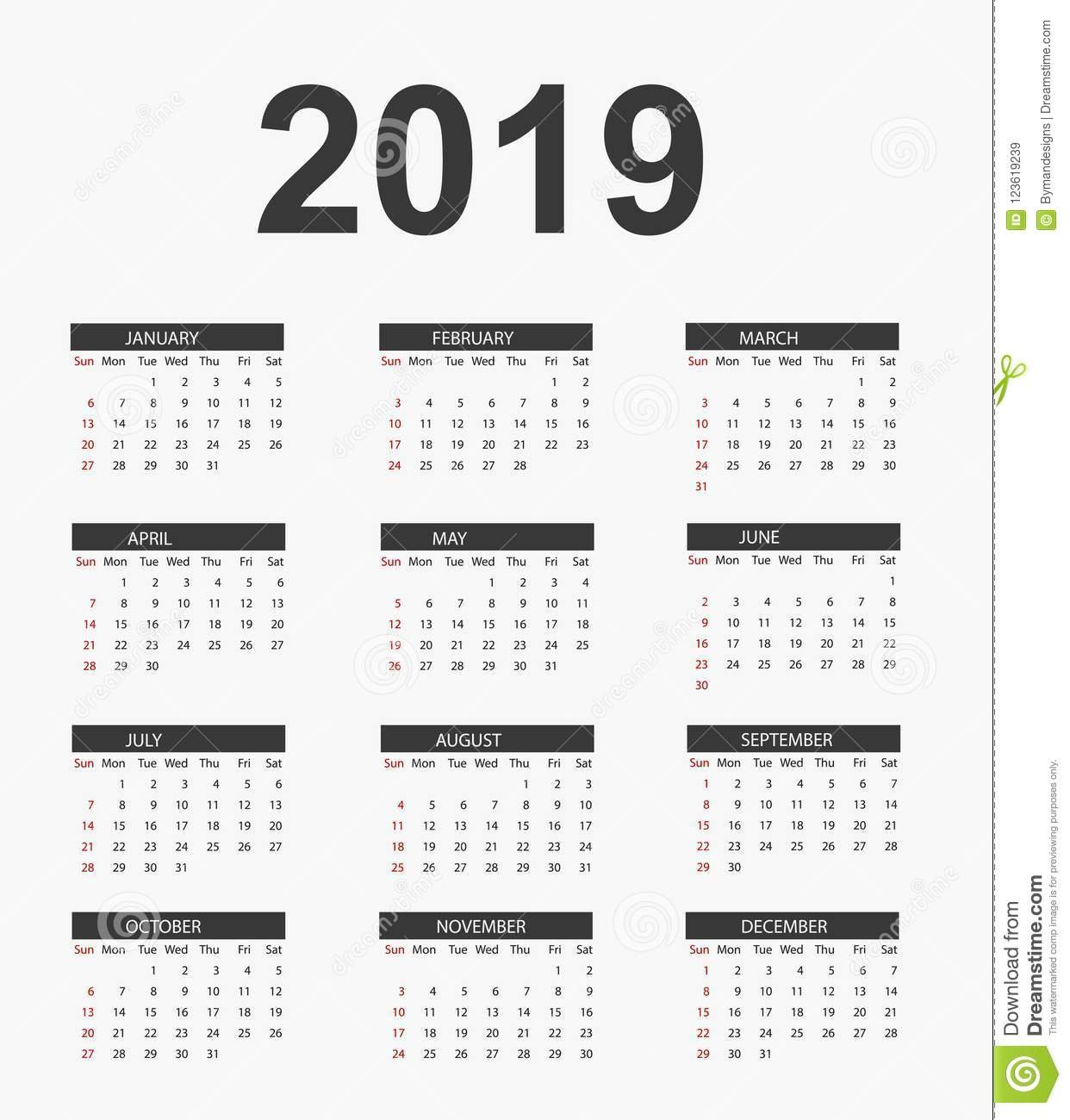 Simple Calendar 2019 .vector Files Stock Vector - Illustration Of Calendar 2019 Vector