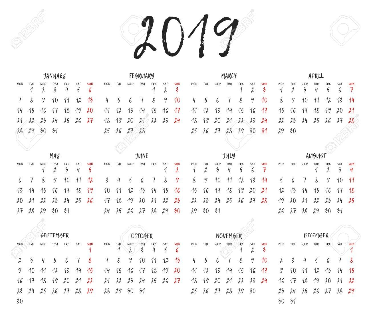 Simple Calendar Grid For 2019. Calendar Template. Week Starts Monday Calendar 2019 Grid