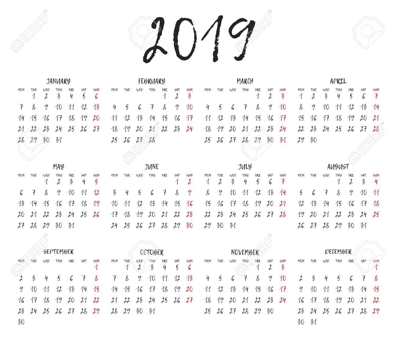 Simple Calendar Grid For 2019. Calendar Template. Week Starts Monday Calendar 2019 Grid