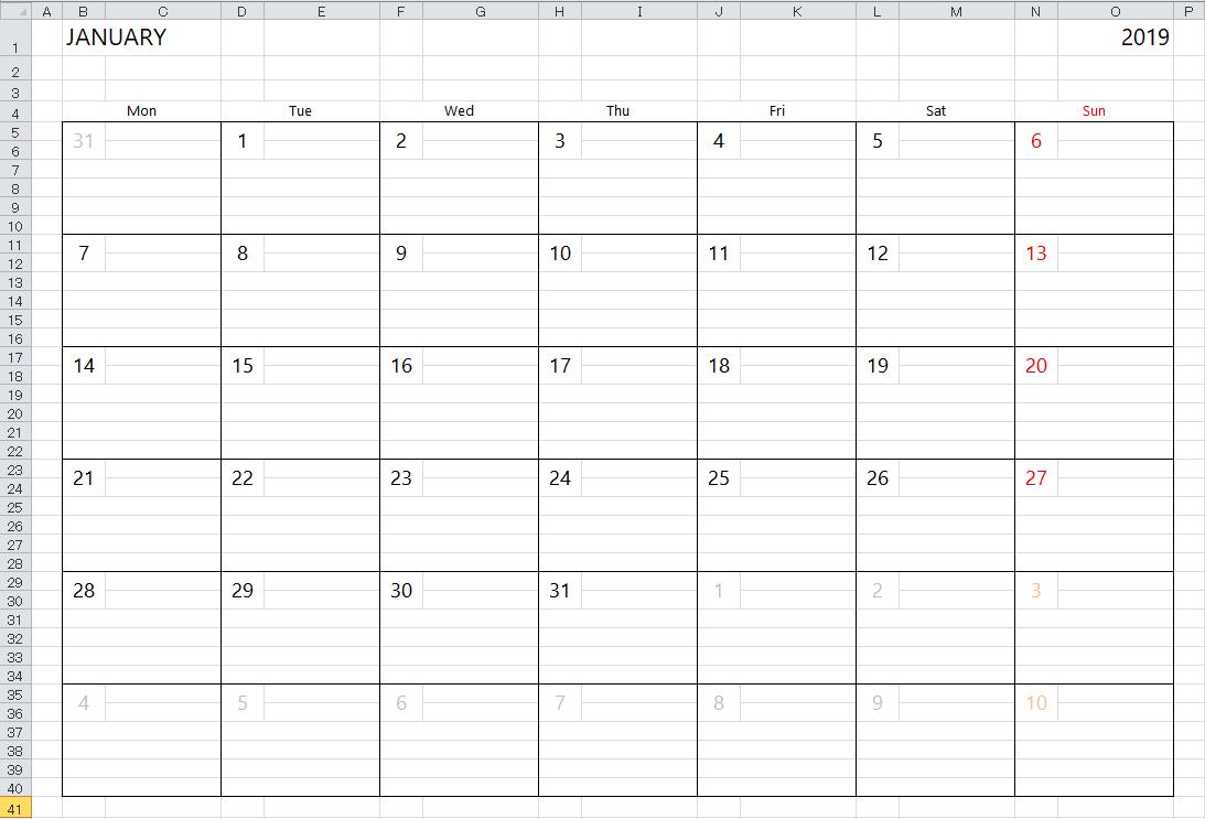 Simple Excel Calendar Template Calendar 2019 Create