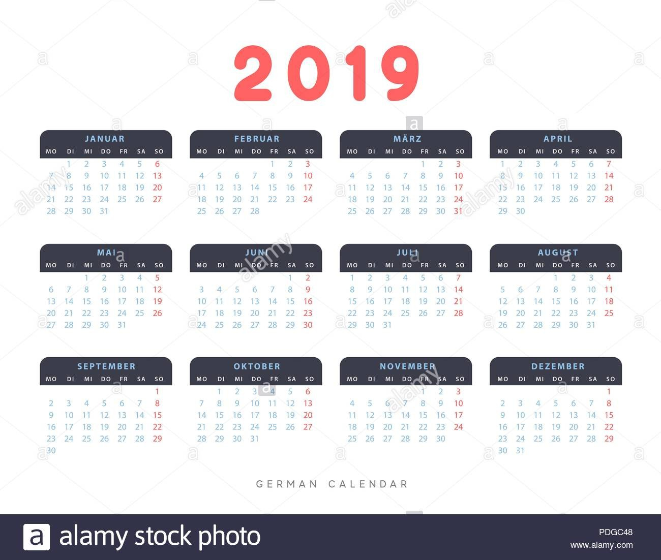 Simple Germany Calendar For 2019 Years, Week Starts On Monday Stock Calendar 2019 Germany Week Numbers