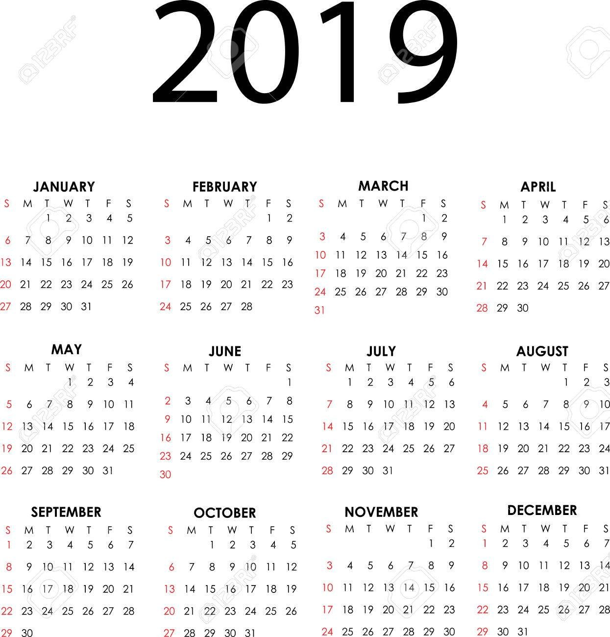 Simple Vector Calendar For 2019 With All The Months Royalty Free Calendar 2019 Vector