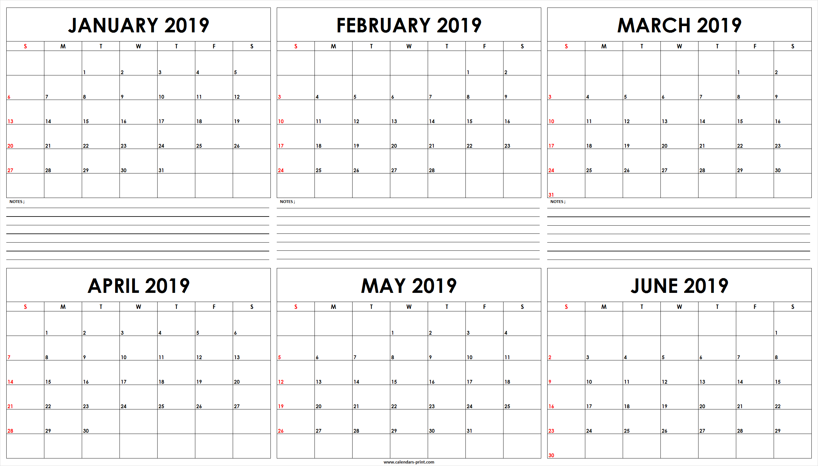 Six Monthly January 2019 To June 2019 Calendar Template | Editable January 6 2019 Calendar