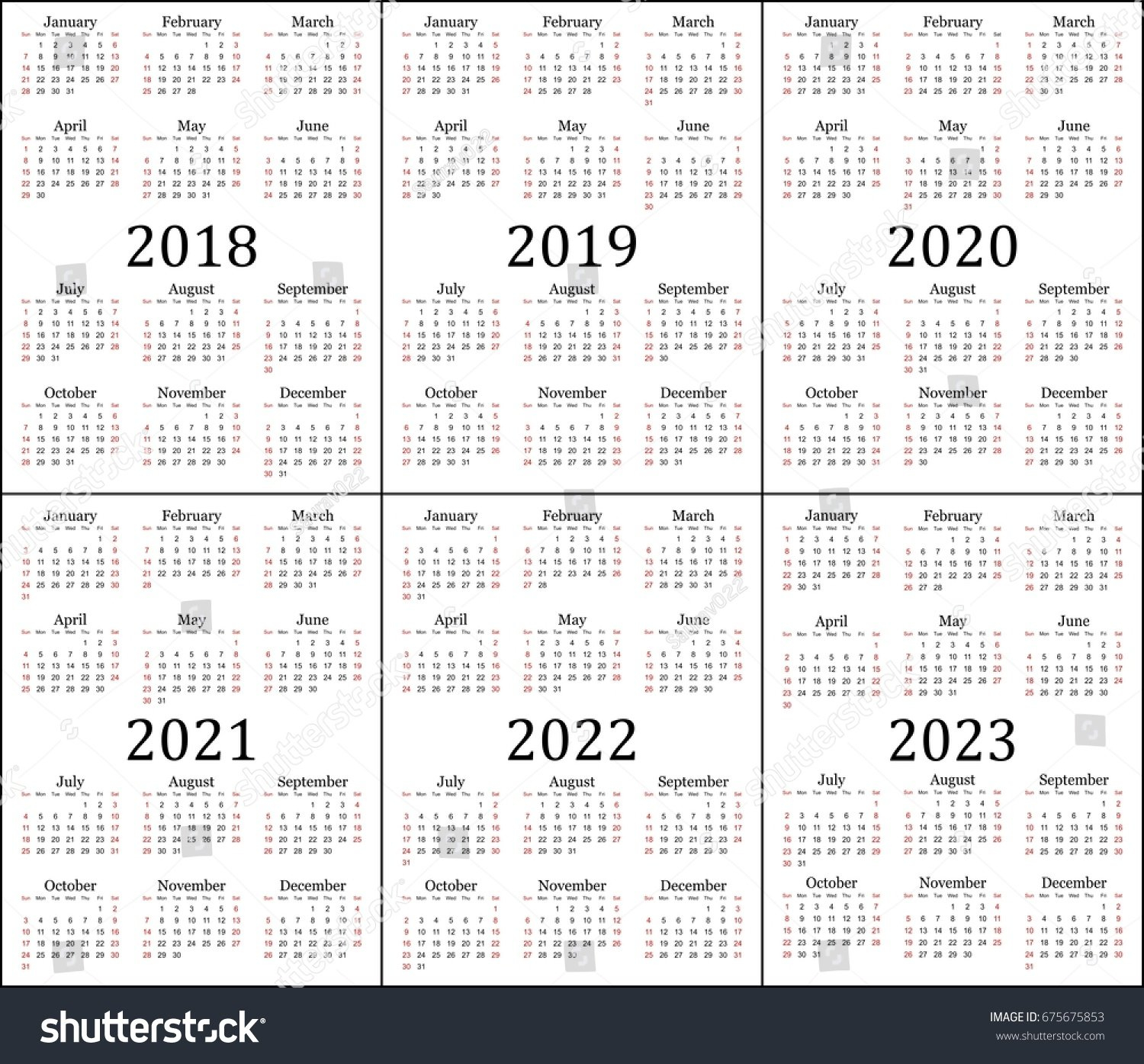 Six Year Calendar - 2018, 2019, 2020,… Stock Photo 675675853 5 Year Calendar 2019 To 2023 Printable