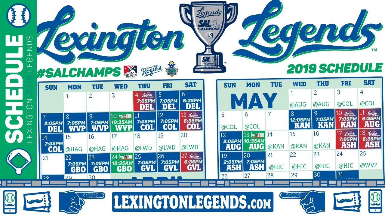 Take A Look Into The Future; Legends Announce 2019 Schedule Lexington 1 Calendar 2019