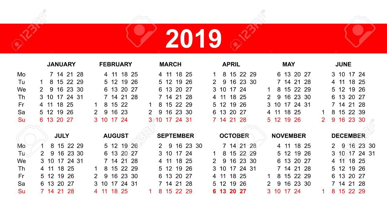 Template - European Calendar Grid 2019 In Vector. Royalty Free Calendar 2019 Grid