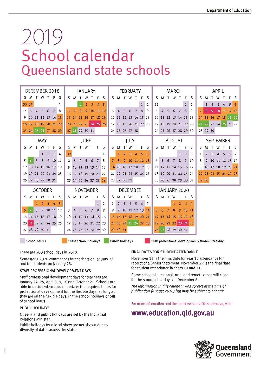 Term Dates 2019 Calendar Queensland State Schools