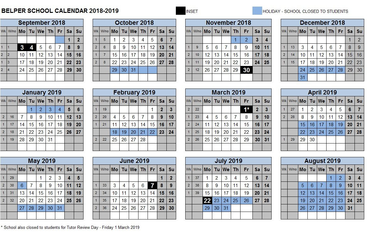 Term Dates – Belper School And Sixth Form Centre 3 Term School Calendar 2019
