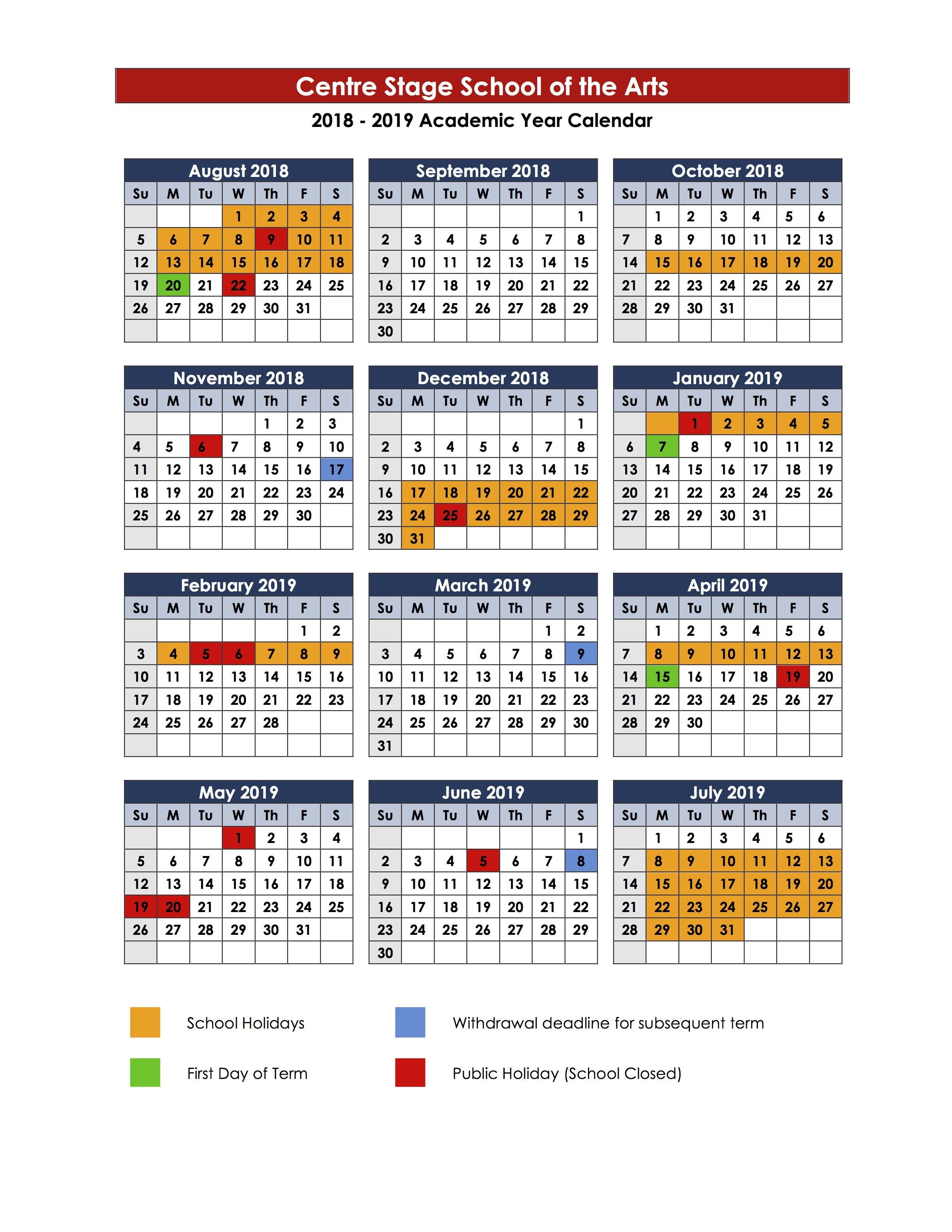 Term Dates - Centre Stage 3 Term School Calendar 2019