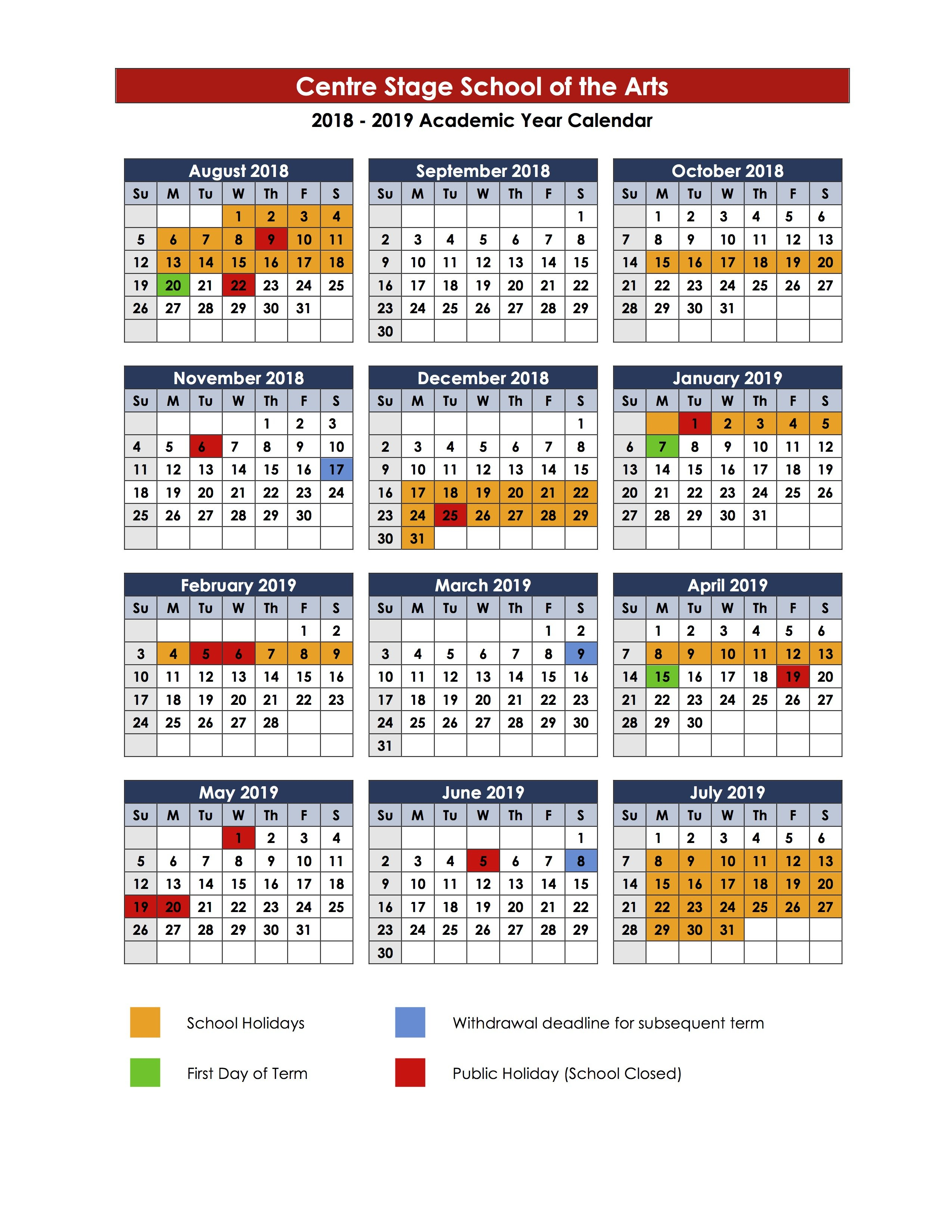 Term Dates - Centre Stage Term 1 Calendar 2019