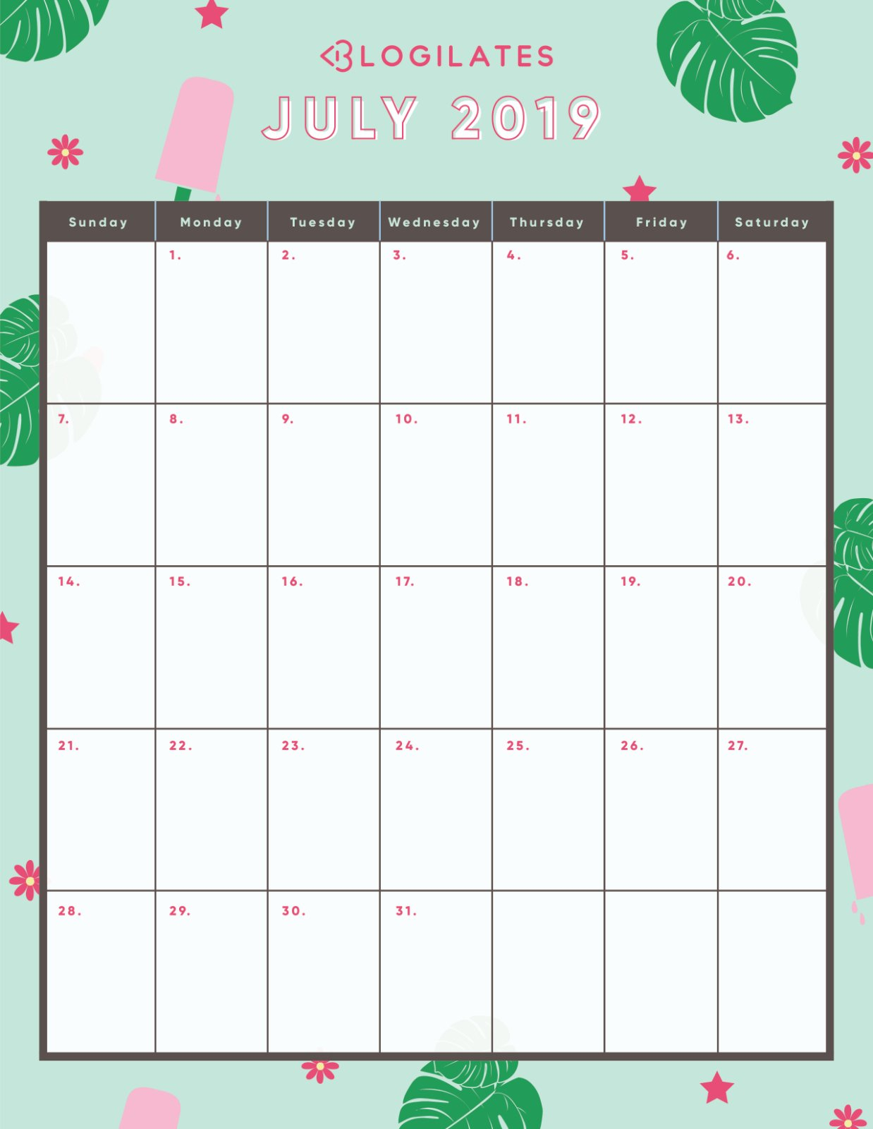 The Legit Cutest 2019 Printable Calendars! – Blogilates J Salmon 2019 Calendar