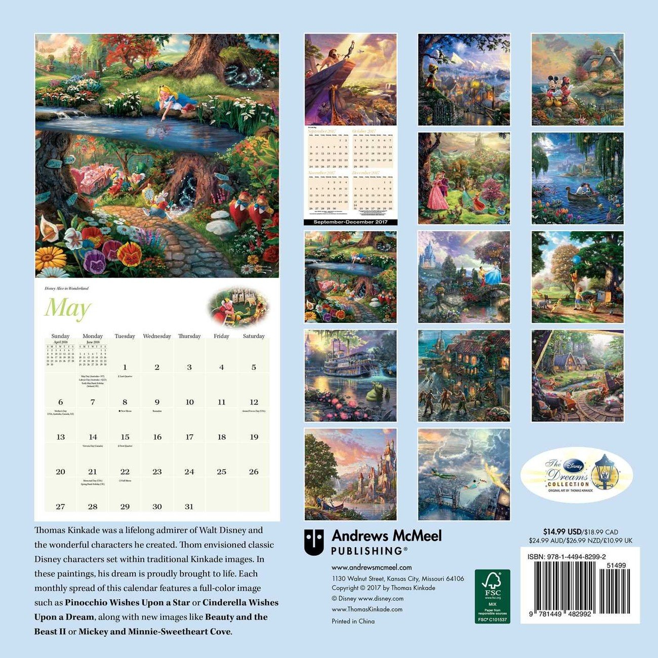 Thomas Kinkade - The Disney Dreams Collection Календарі 2020 На Calendar 2019 Thomas Kinkade