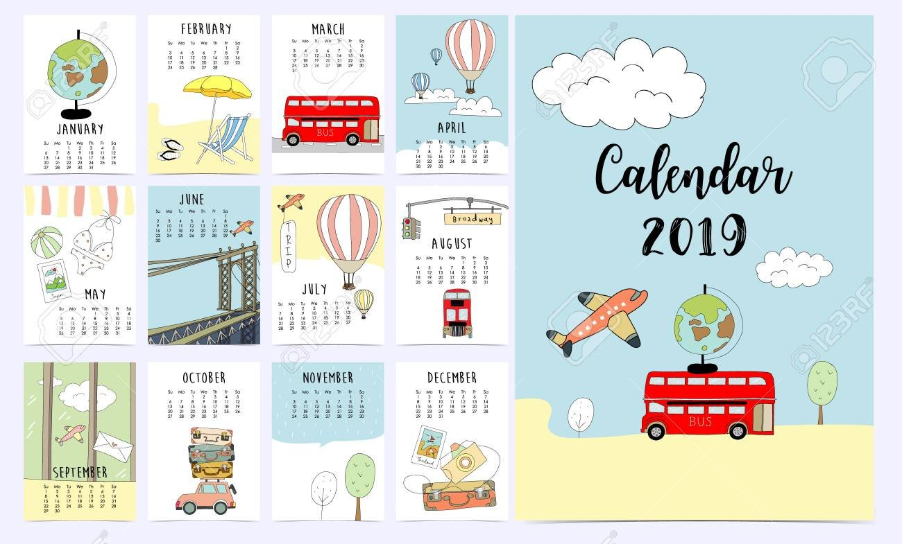 Travel Monthly Calendar 2019 With Van,sun,suitcase,sea,beach Calendar 2019 Travel