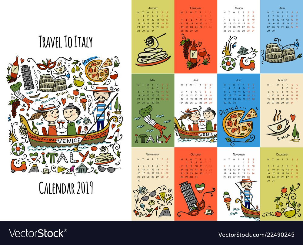 Travel To Italy Calendar 2019 Design Royalty Free Vector Calendar 2019 Travel