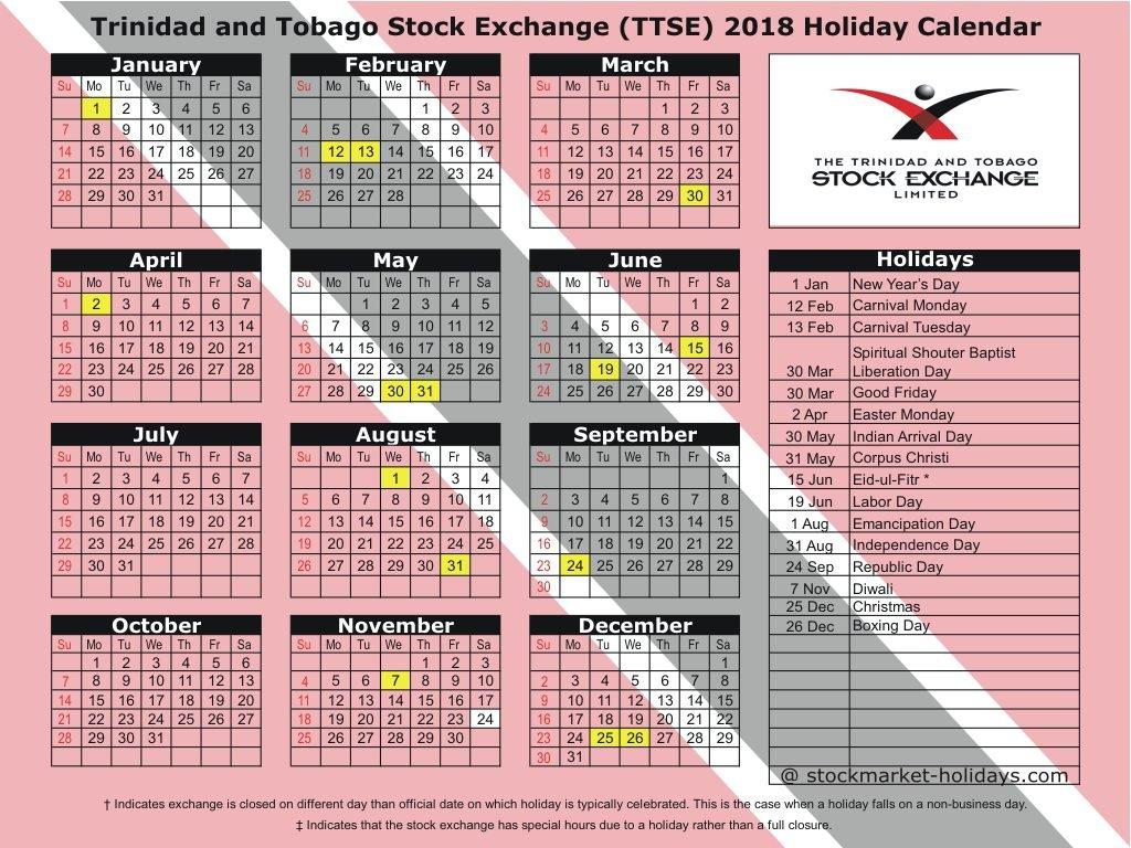 Trinidad And Tobago Stock Exchange 2018 / 2019 Holidays : Ttse T&t Calendar 2019