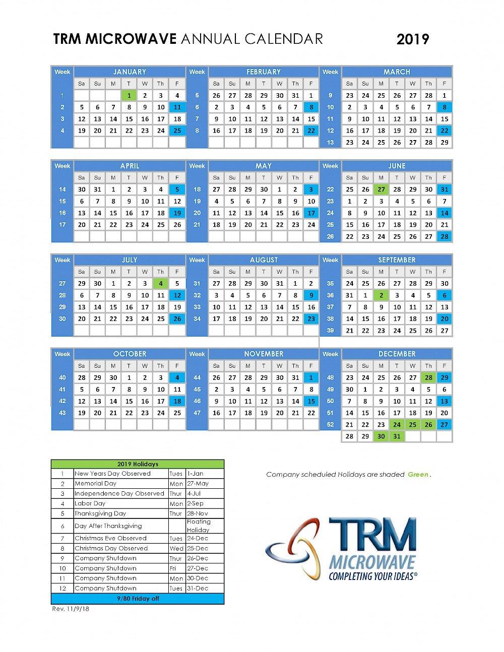Trm 9/80 Annual Calendar 2019 - Trm Microwave Calendar 9 2019