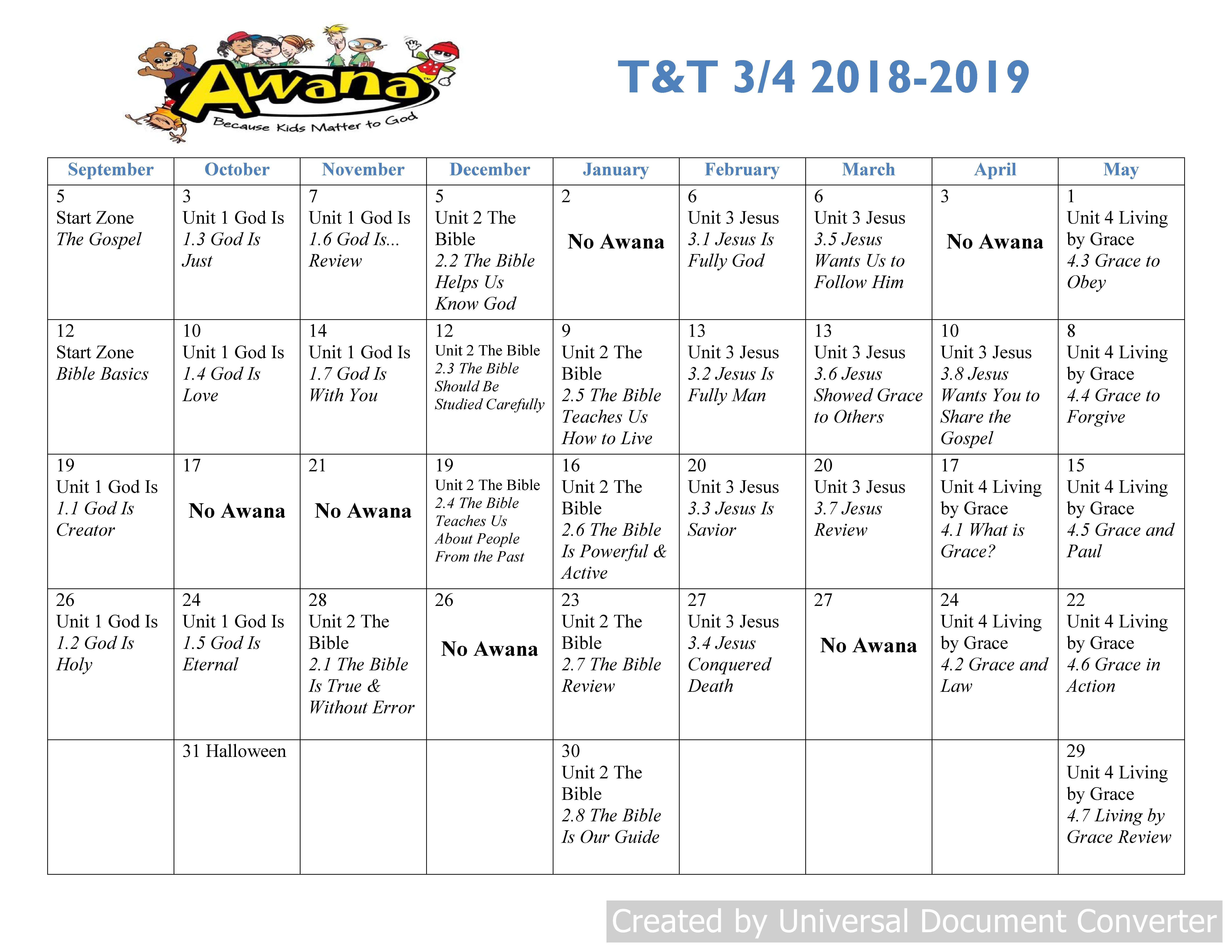 T&t 3Rd-4Th T&t Calendar 2019